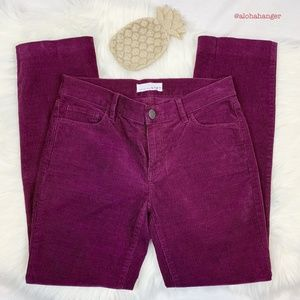 LOFT Plum Corduroy Modern Straight Pants! EUC!